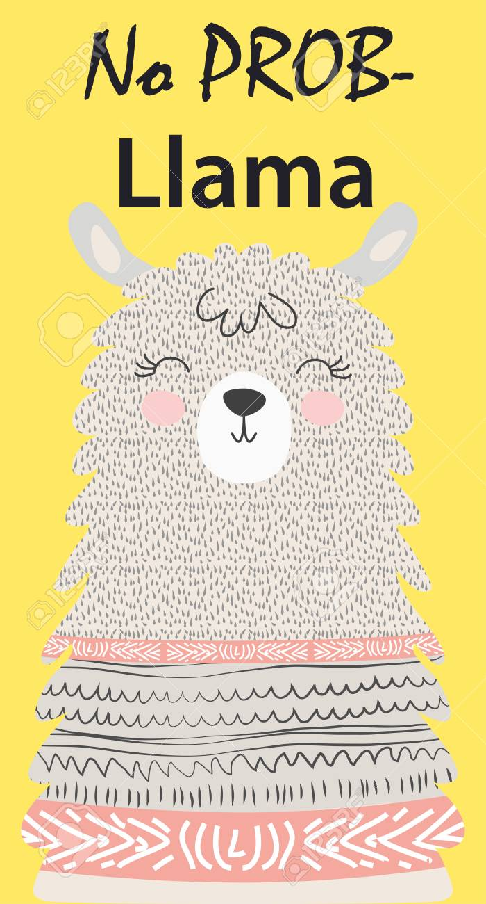 Hand drawn vector illustration of a cute funny llama. Isolated objects on white. Scandinavian style flat design. Inscription No Drama - Lama - 126658230