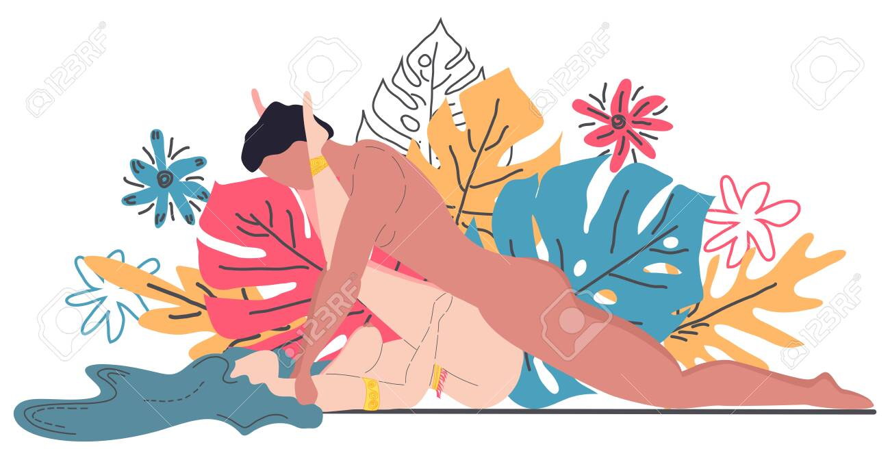 Kama Sutra, a man and a woman have sex. The art of love. Sexual position Rock n Roller. Against the background of a bouquet of tropical leaves of palm trees, monster and flowers. Scandinavian style - 126089763