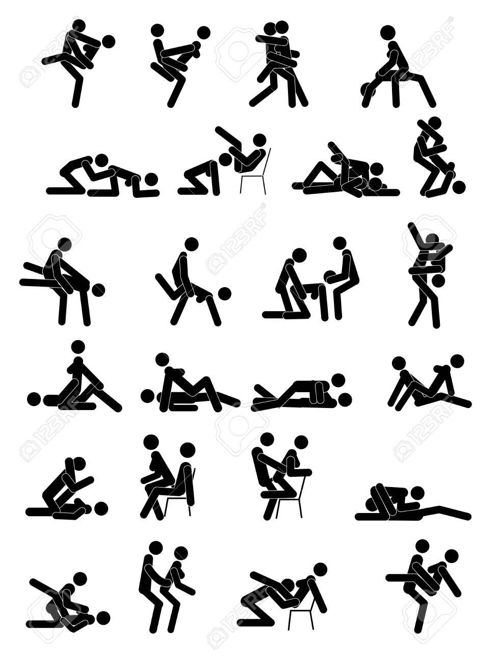 Kamasutra, sketchy poses for making love. Set. Yin and Yang, man and woman love each other. Kamasutra, the art of love - 126089953