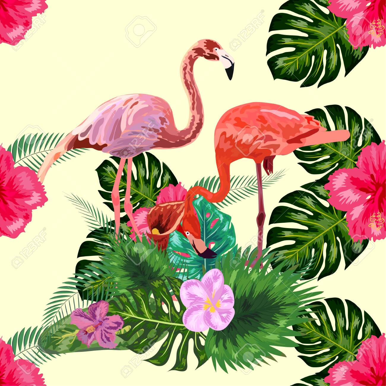 Seamless pattern of flamingos in love among the palm, flovers - 141139180