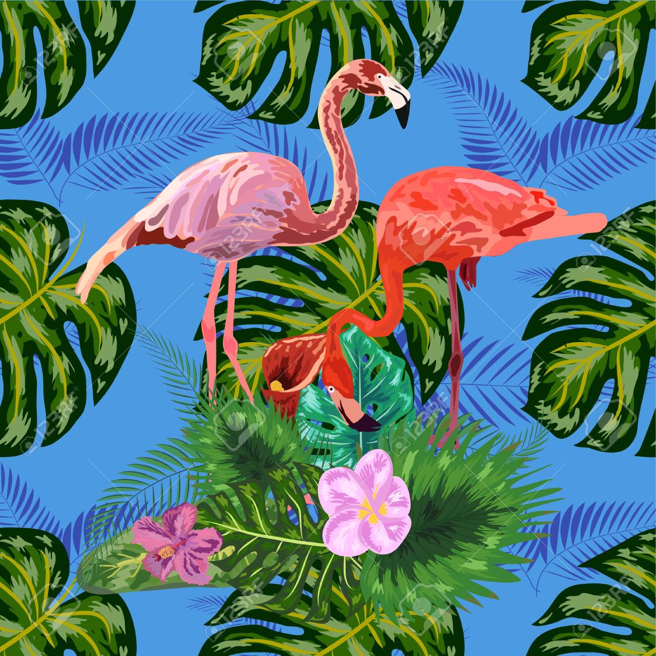 Beautiful seamless floral exotic pattern with tropical flowers, palm leaves, jungle plants, hibiscus, bird of paradise flower, pink flamingos - 141139434