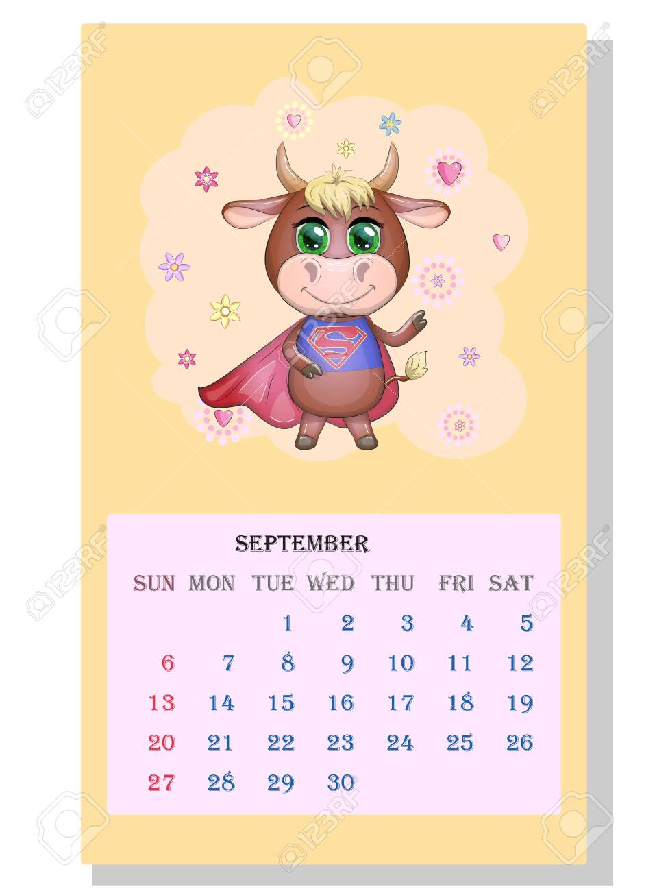 Calendar 2021. Cute Bull And Cow For September. Royalty Free