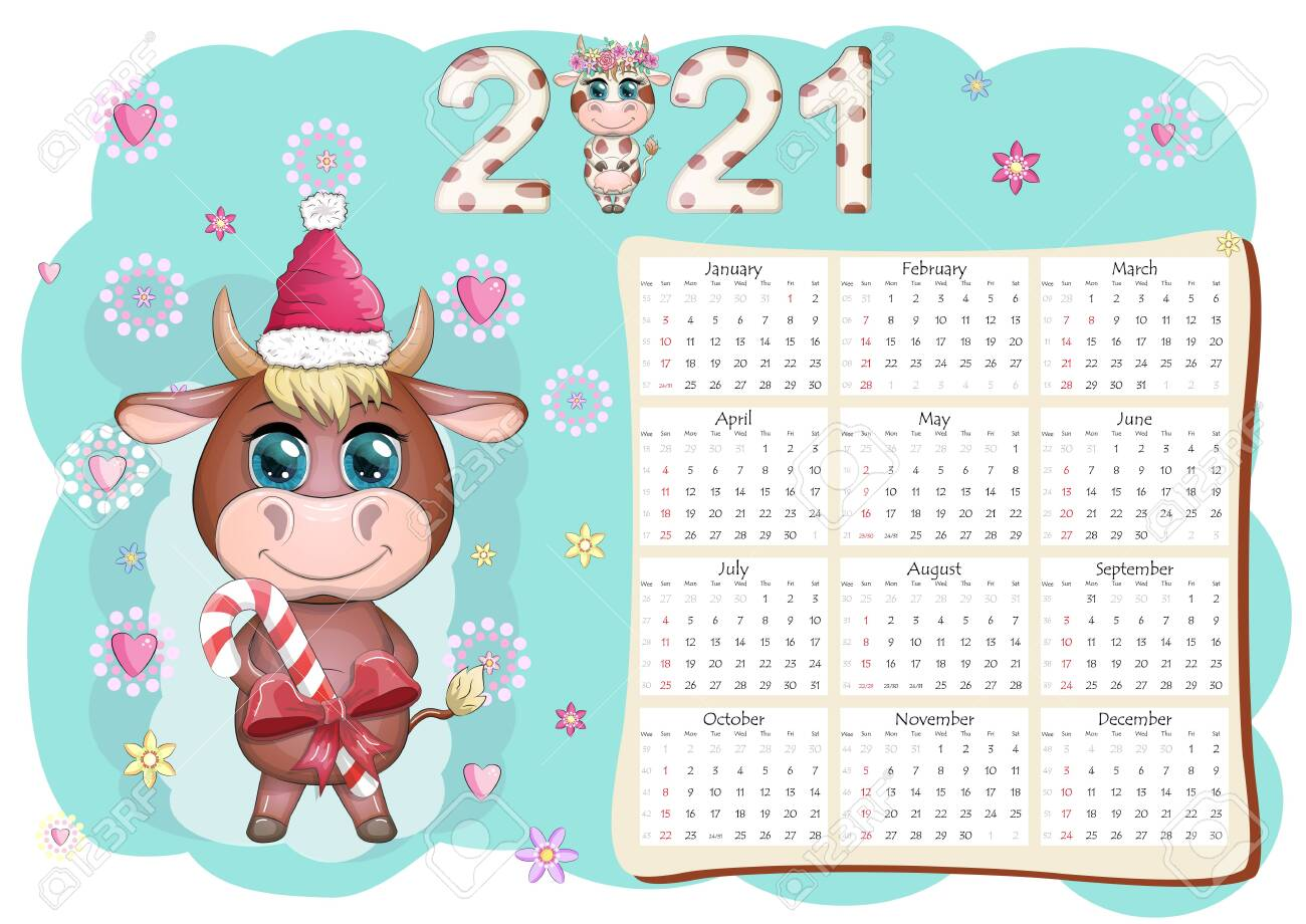 Calendar 2021. The Bull Is A Symbol Of The New Year, Cartoon