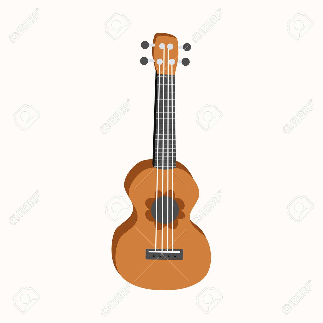 Ukulele flat design, four-string guitar illustration on background - 154166232