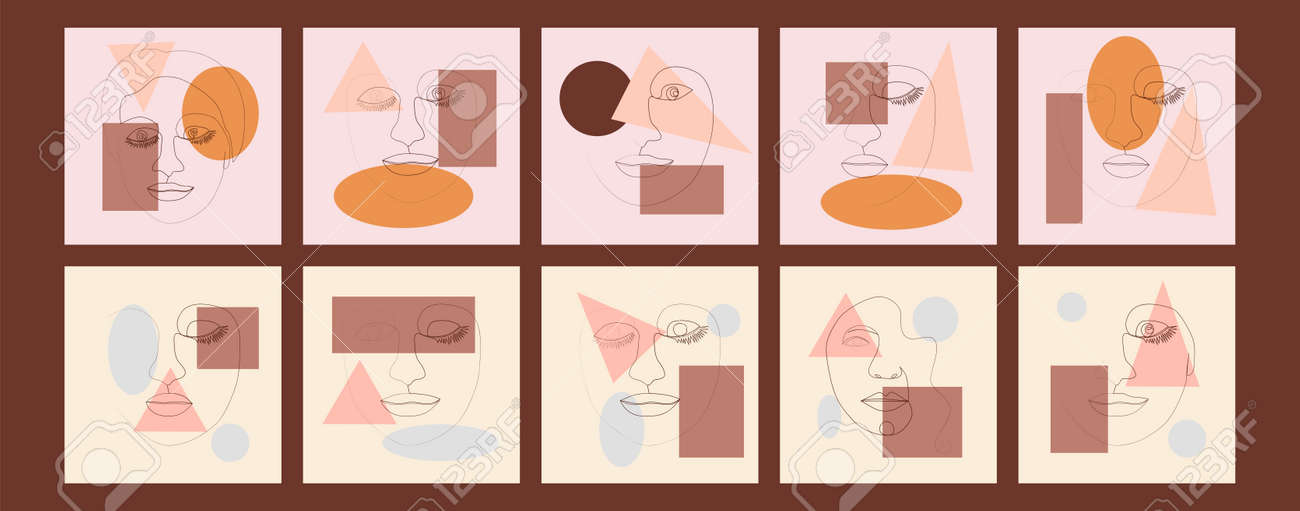 Set of Woman's Face continuous Line art. Abstract Contemporary collage of geometric shapes in a modern trendy style. Portrait of a female. For Beauty Concept, t-Shirt Print, postcard, poster - 170549564