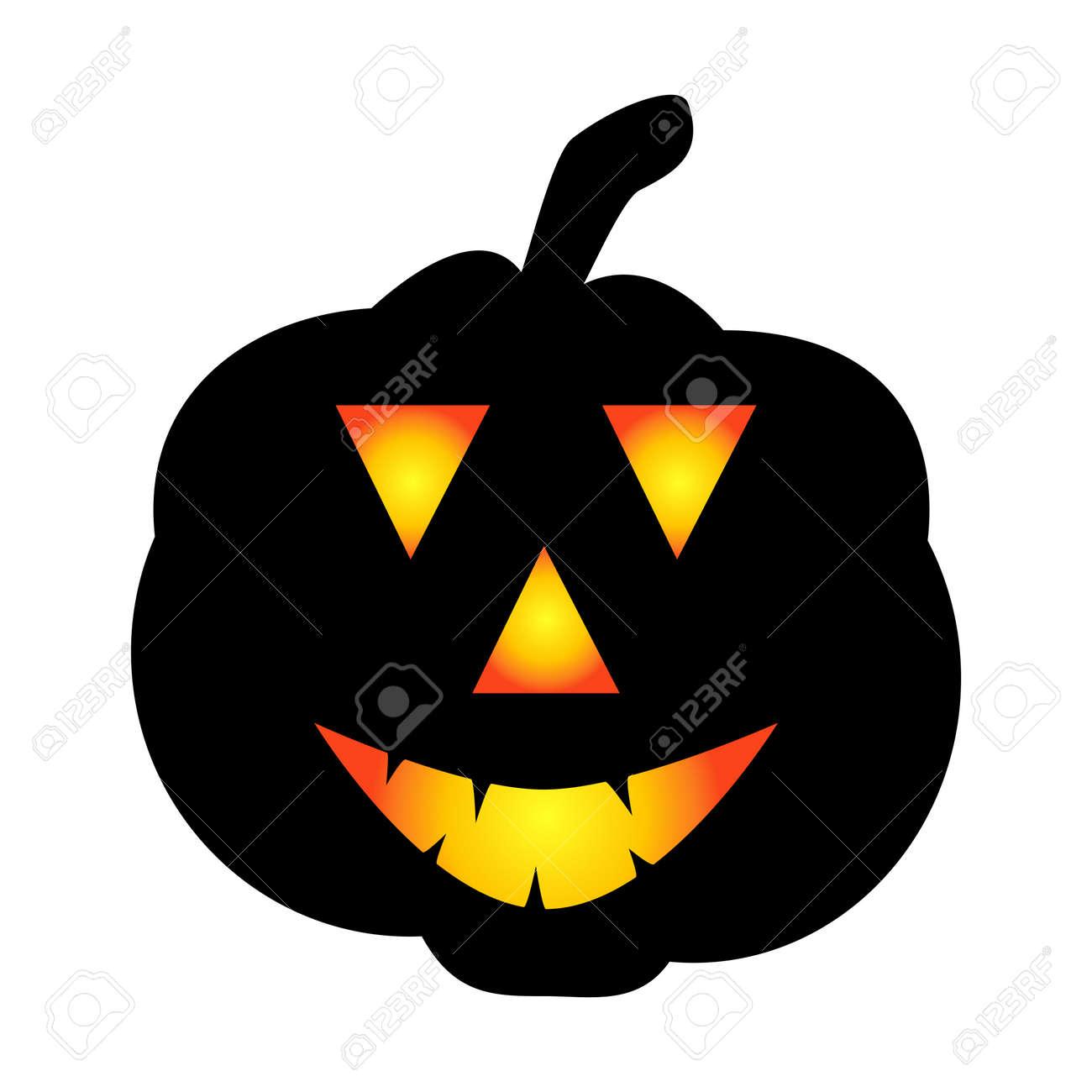 Halloween pumpkin icon. Autumn symbol. Halloween scary pumpkin with a smile, burning eyes. Cartoon colorful illustration. - 170549892