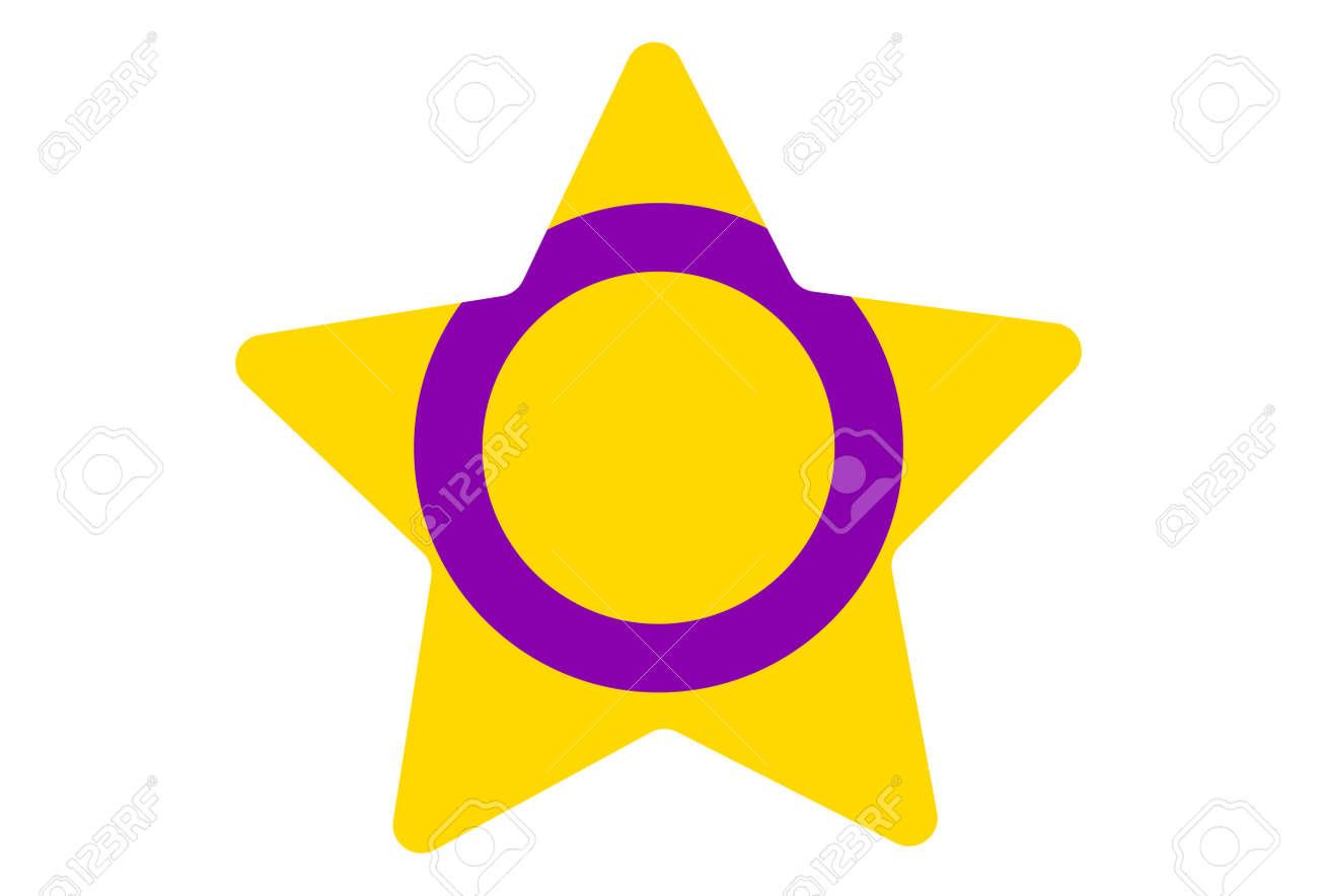 LGBT pride flag, Intersex PRIDE. Multicolored peace flag movement. Original colors symbol. Star shaped - 170549923