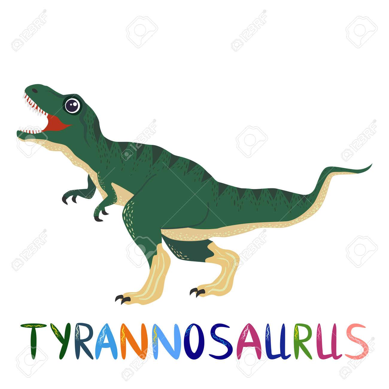 Tyrannosaurus green, prehistoric dinosaurs collection. Ancient animals. Hand drawn. - 170550040