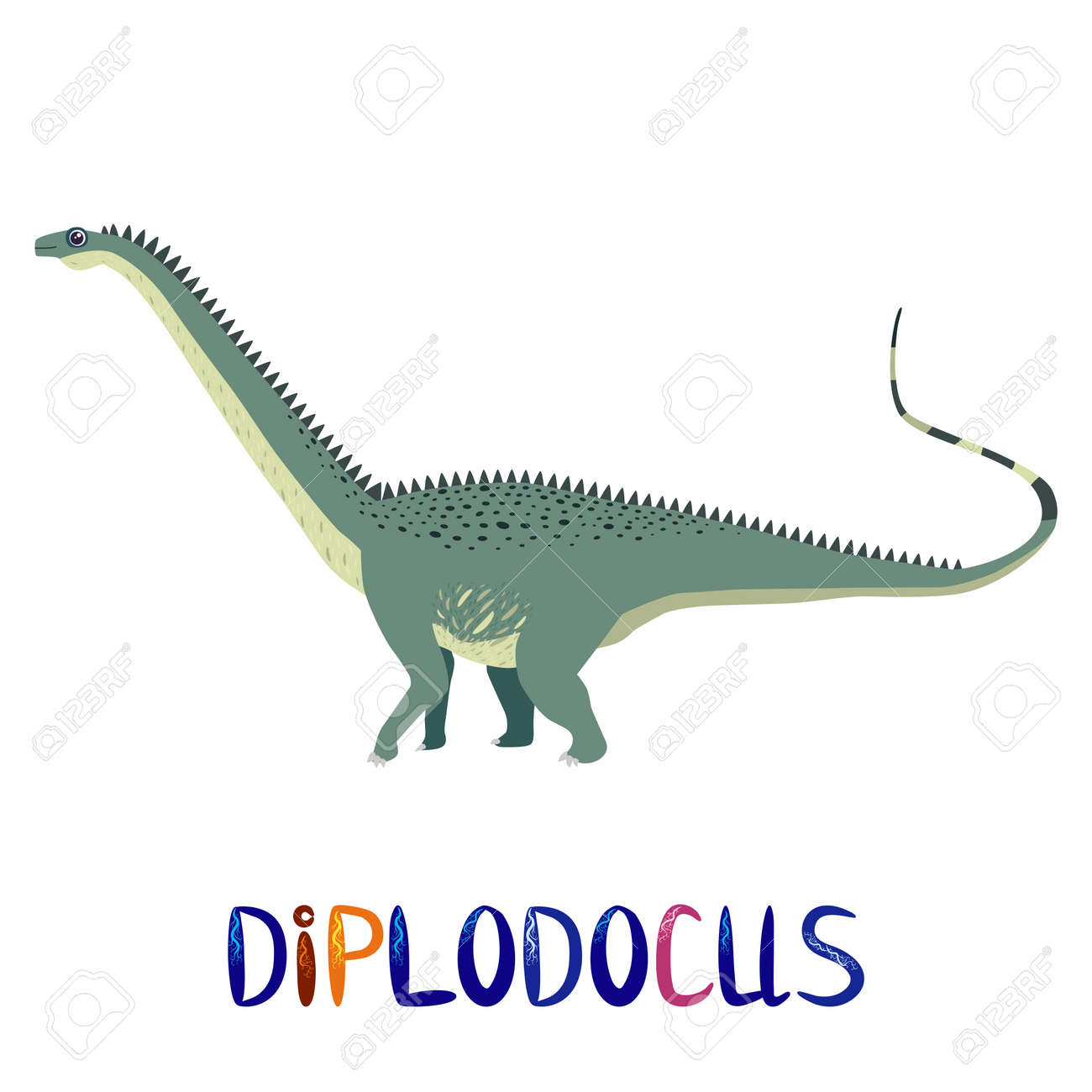 Marsh diplodocus, prehistoric dinosaurs collection. Ancient animals. Hand drawn. - 170465942