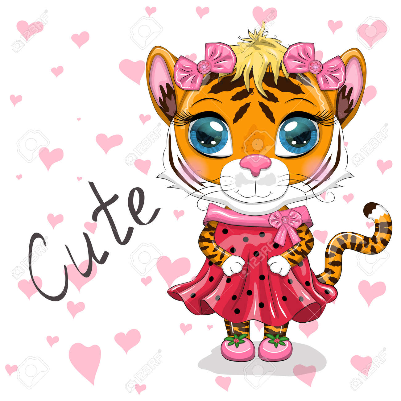 Cute cartoon tiger girl with beautiful eyes in a dress. Chinese New Year 2022, Christmas Year of the Tiger. Lunar new year 2022. - 170550046