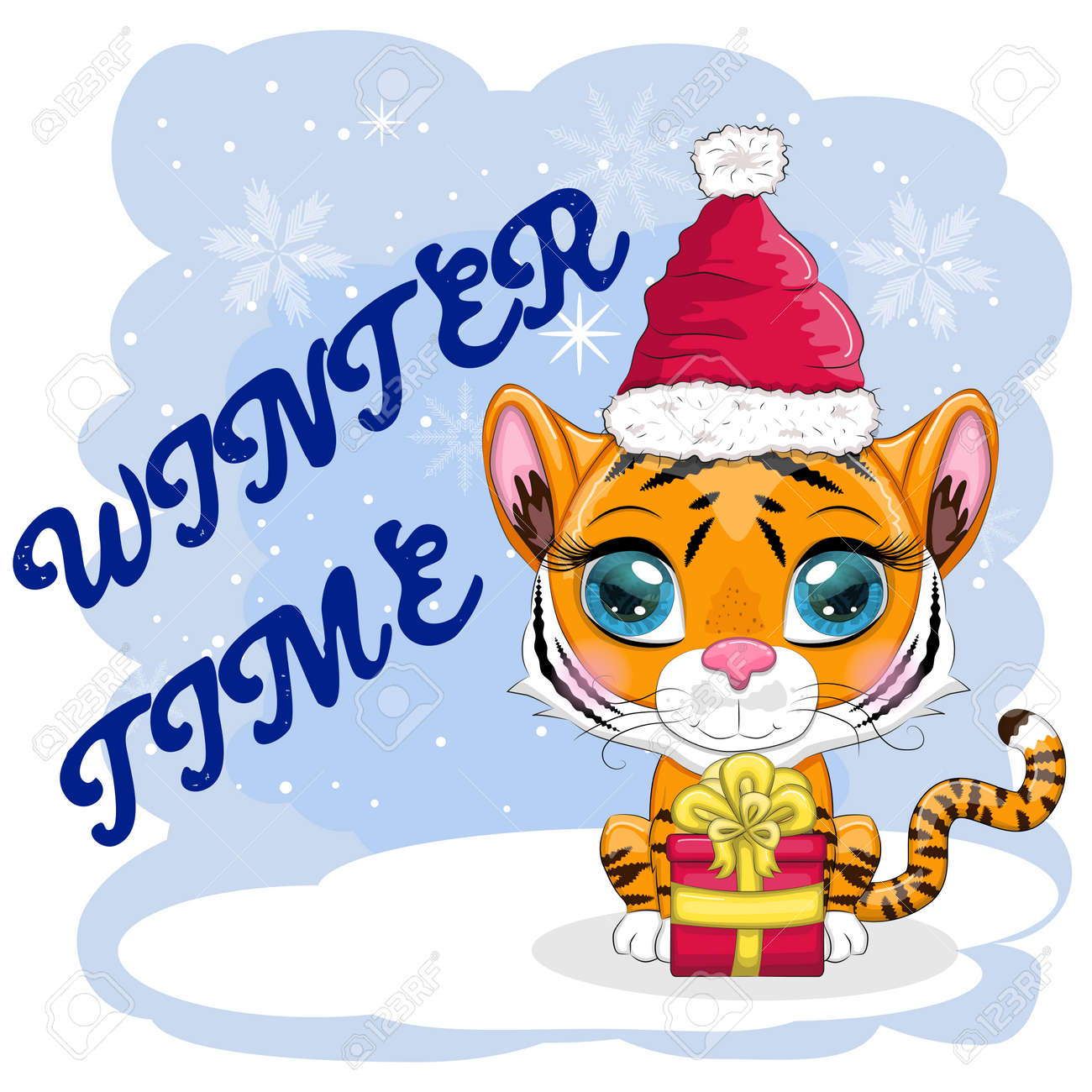 Cartoon tiger in a hat and scarf with a gift. Winter time. Children's style, sweetheart. The symbol of the New Year 2022. Greeting card - 170550051