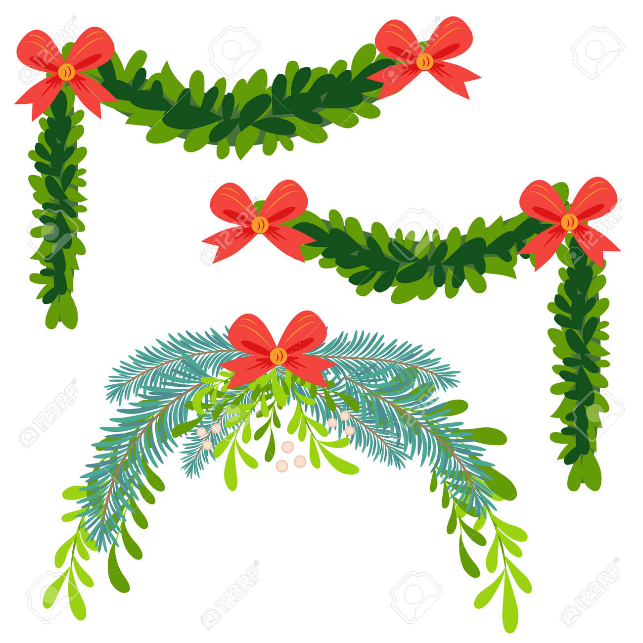 Christmas wreath of holly with red berries. Green leaf. New Year holiday celebration in December - 170465262