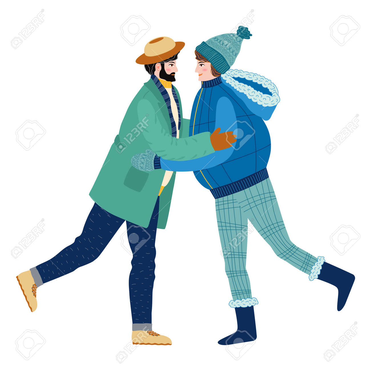Happy meeting of two friends hugging after quarantine, covid-19, long separation. Happy smiling woman enjoying friendship, support and cooperation. Lesbian or couple in love, - 170550070