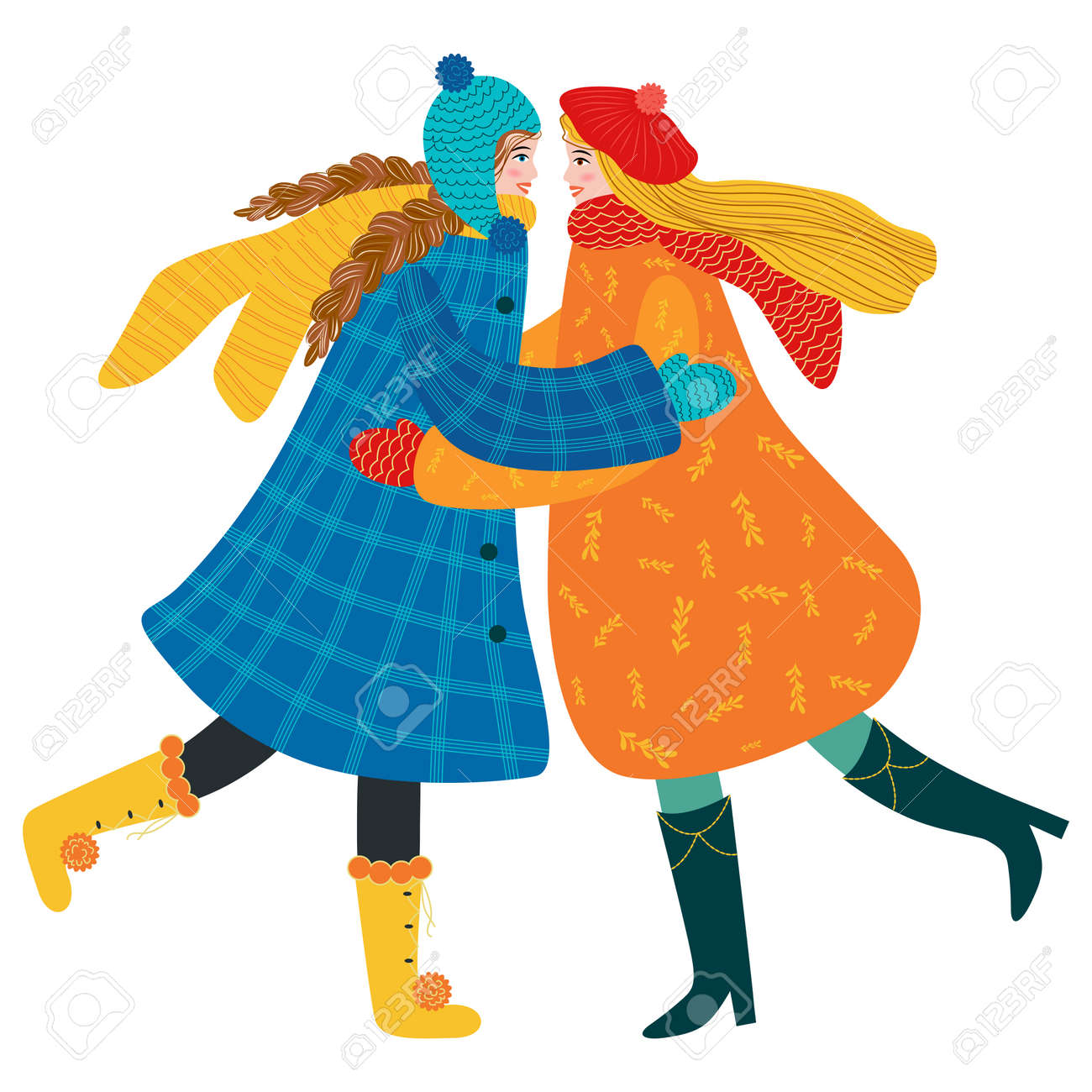 Happy meeting of two friends hugging after quarantine, covid-19, long separation. Happy smiling woman enjoying friendship, support and cooperation. Lesbian or couple in love, - 170550072