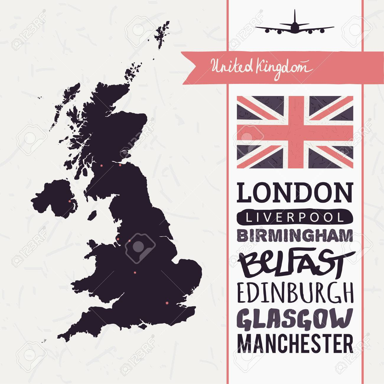 Vector set with map, text, flag, plane  United Kingdom Stock Vector - 28789960