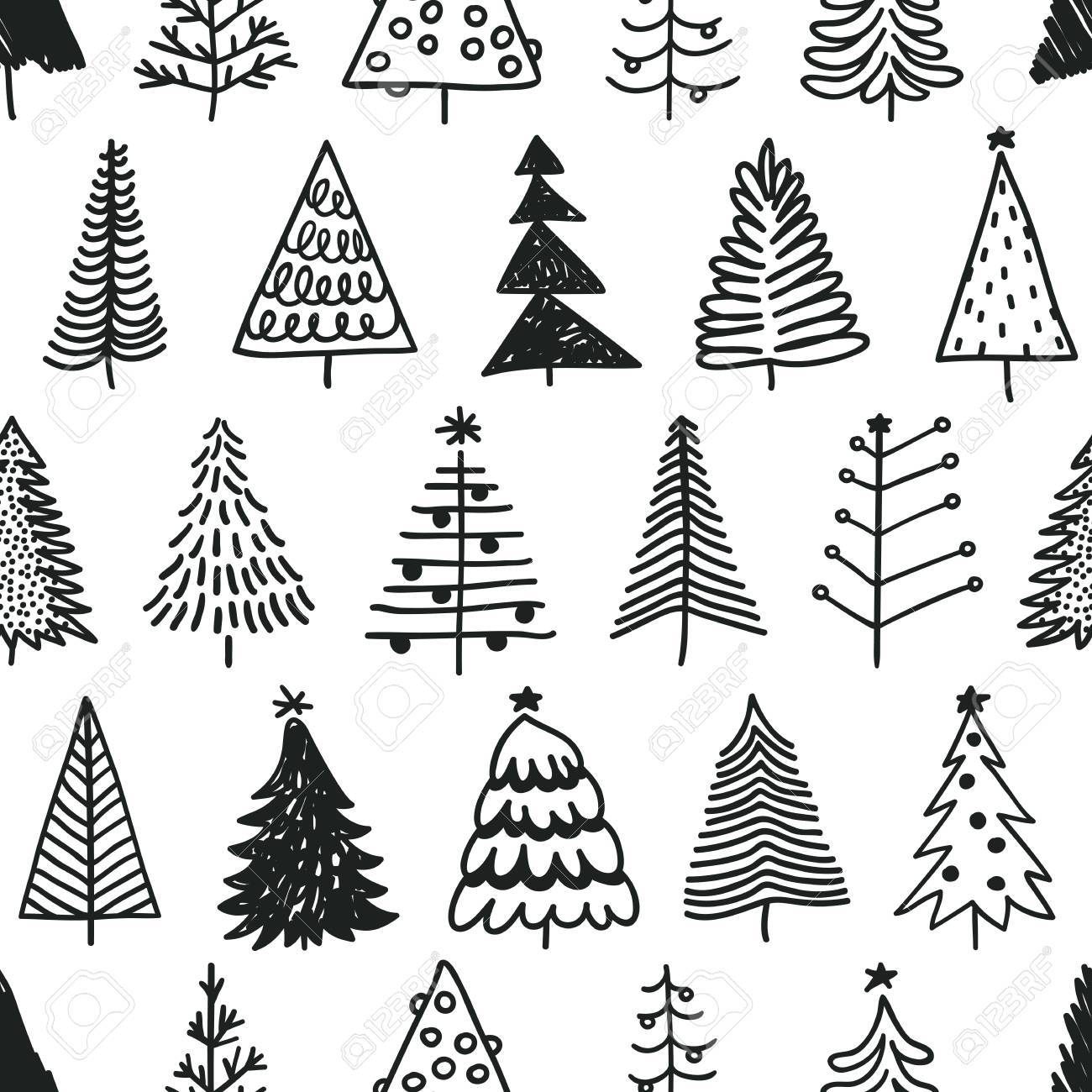 Christmas Tree Pattern.Seamless Pattern With Hand Drawn Christmas Tree Abstract Doodle