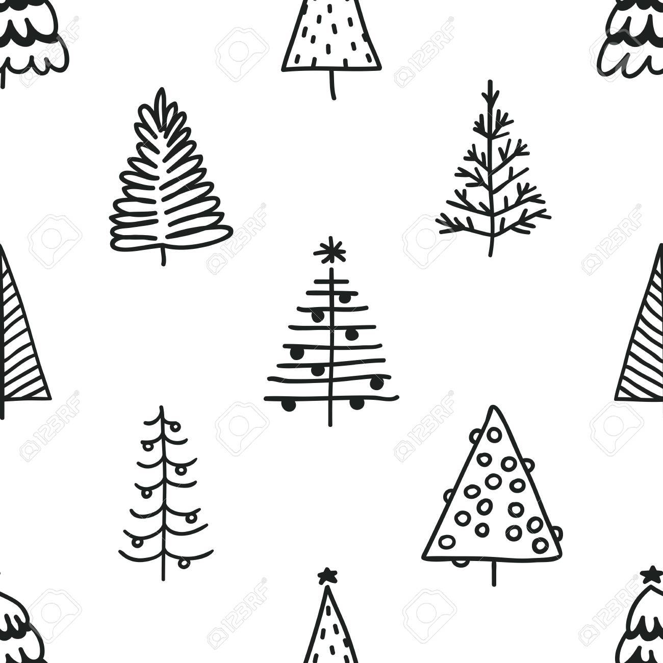 Seamless Pattern With Hand Drawn Christmas Tree Abstract Doodle