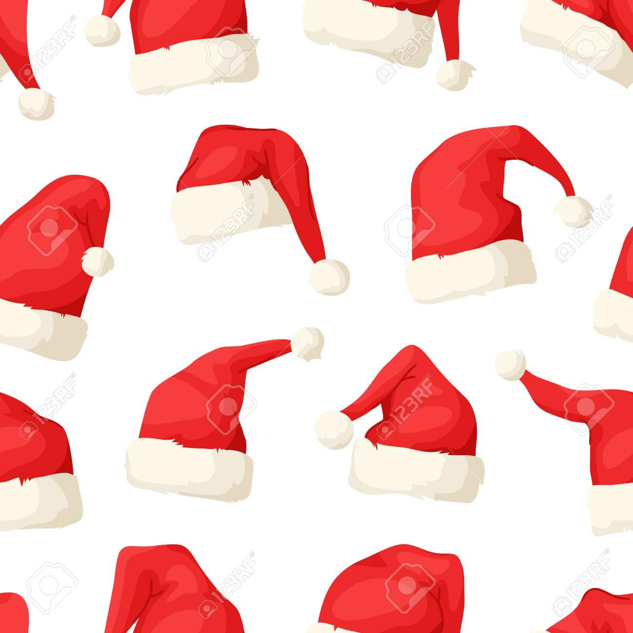Modèle Sans Soudure étiré De Main Avec Des Chapeaux De Noël Dessin