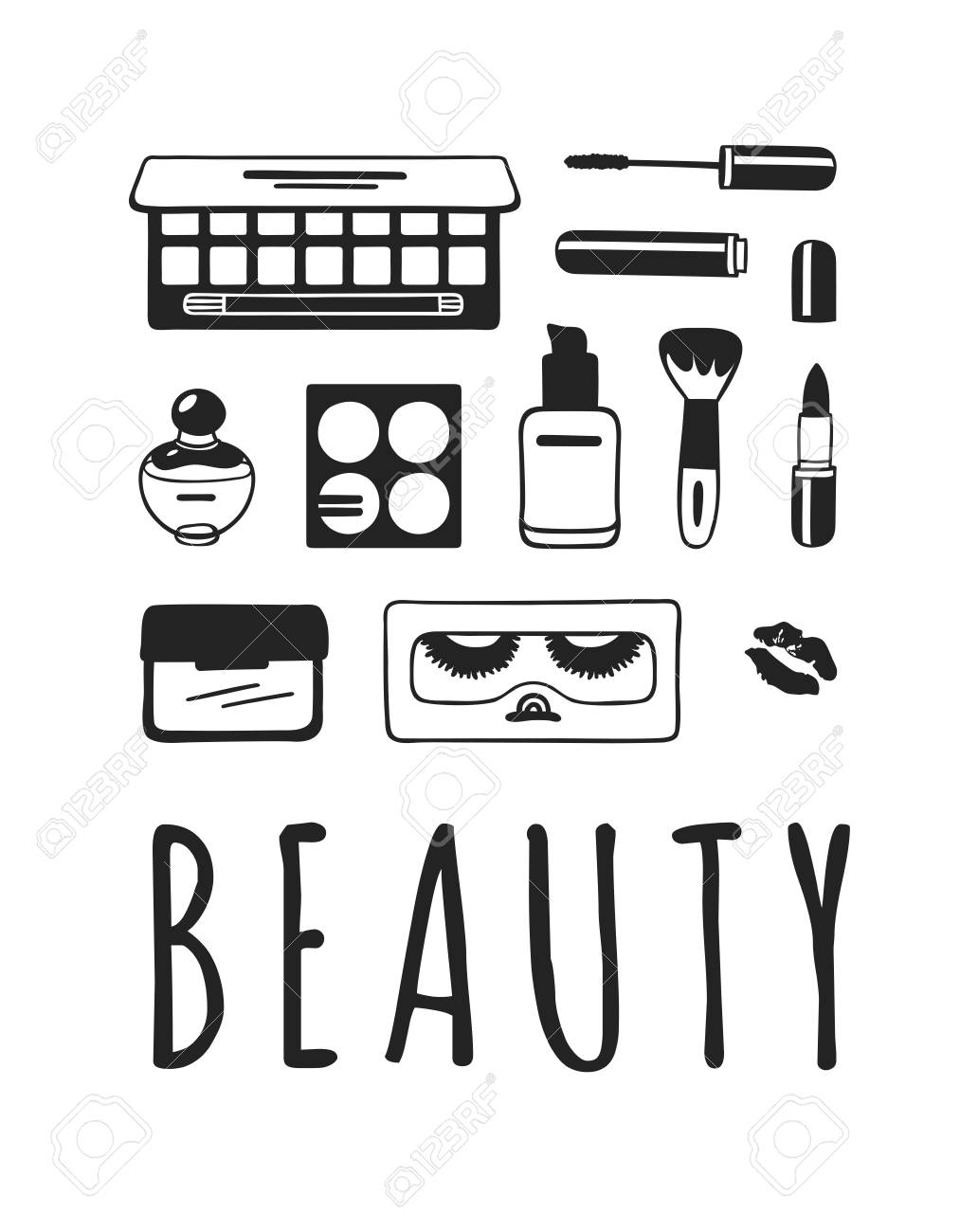 Hand drawn illustration beauty products . Actual vector makeup..