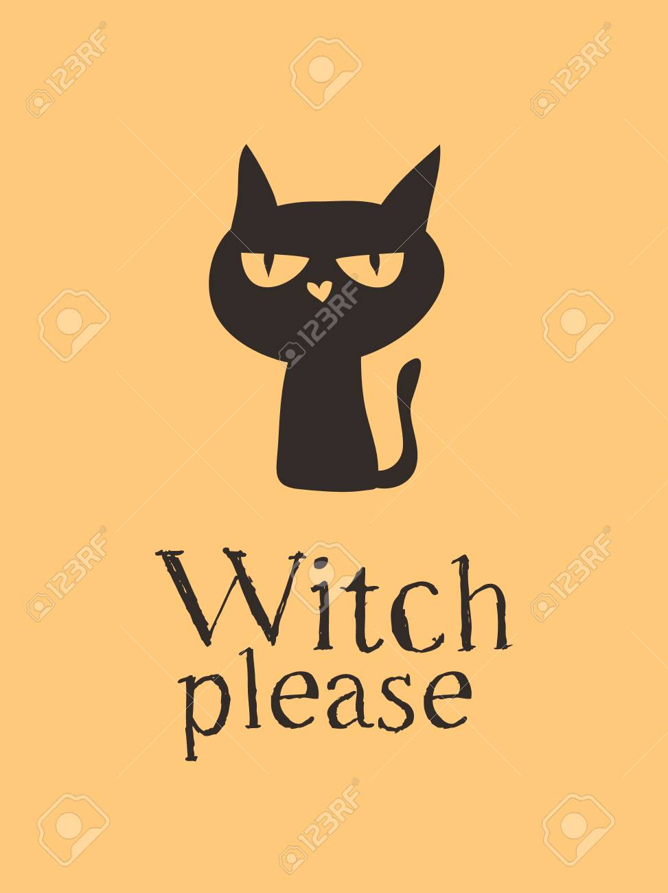Witch Black Cat and Quote. Creative ink art work. Actual vector..