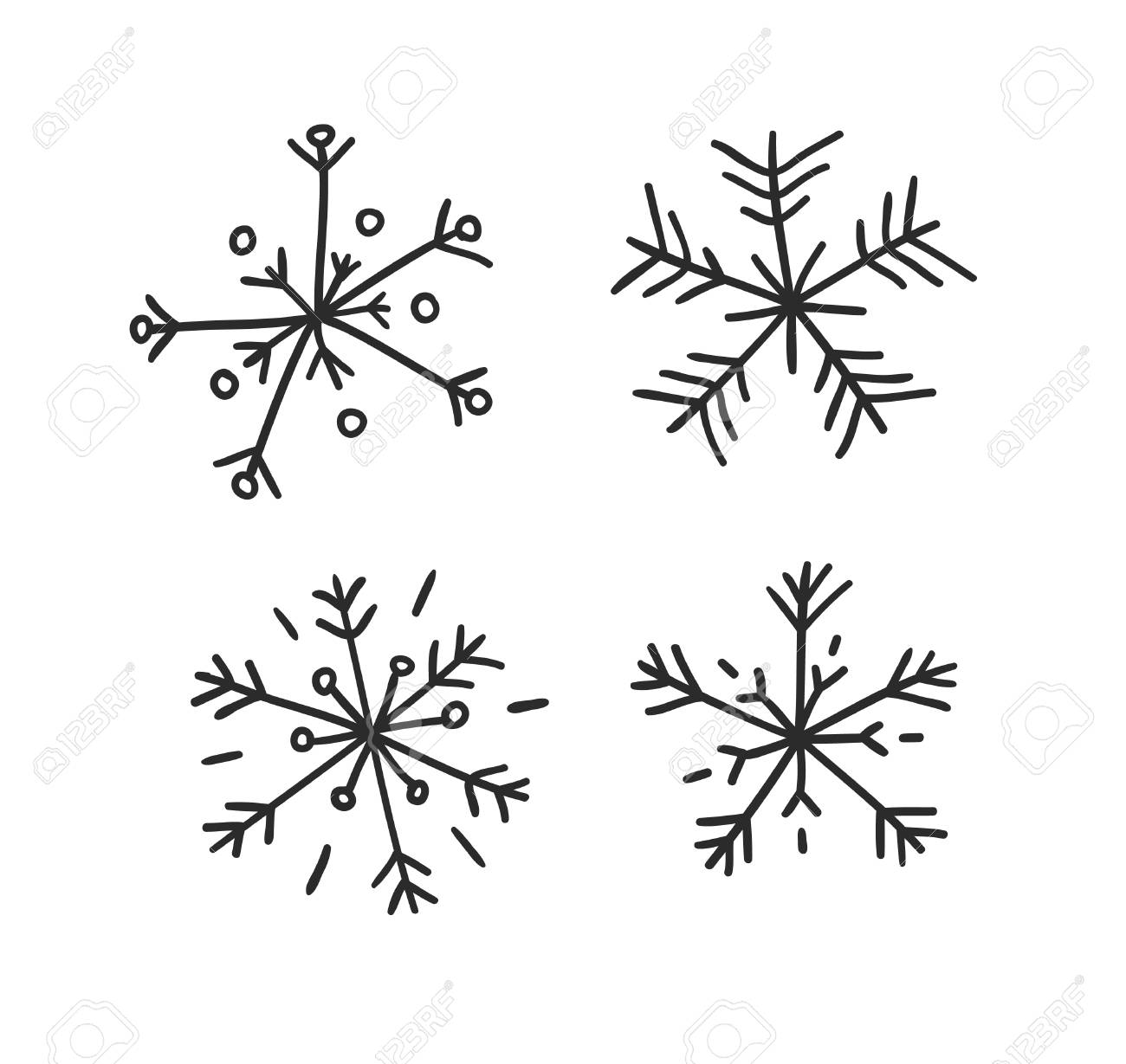 Hand drawn set of vintage snowflakes. Black on white background. Abstract doodle drawing snow. Vector retro art illustration - 112978763