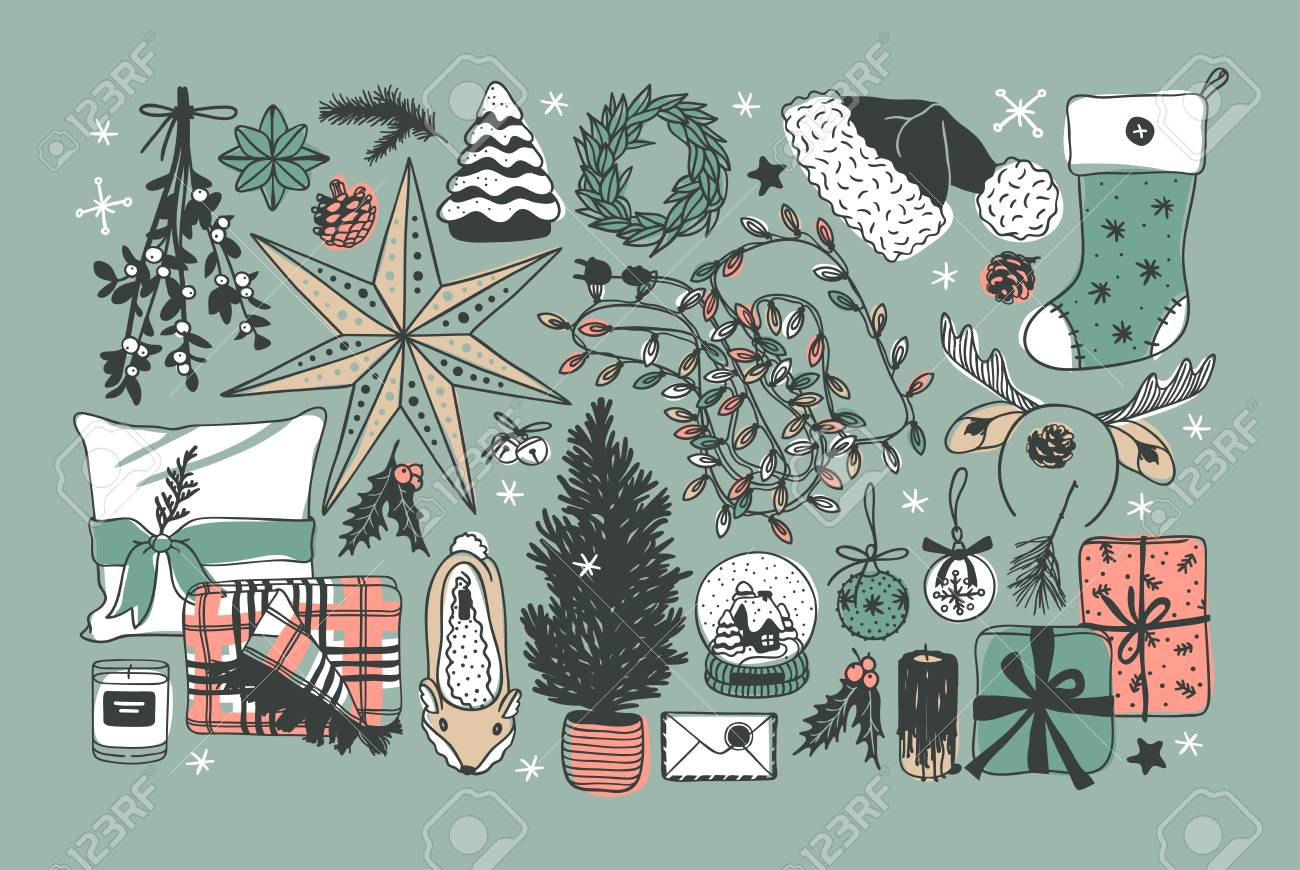 Hand drawn Christmas illustration. Creative ink art work. Actual cozy vector drawing. Winter set of Holidays things, accessories, decoration, food, drinks - 127269238