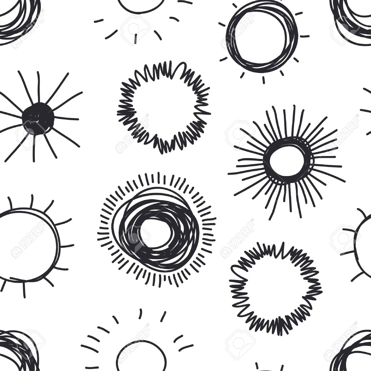 4b9a0b4e720 Photo hand drawn illustration sun doodle style seamless pattern black and  white solar system objects jpg