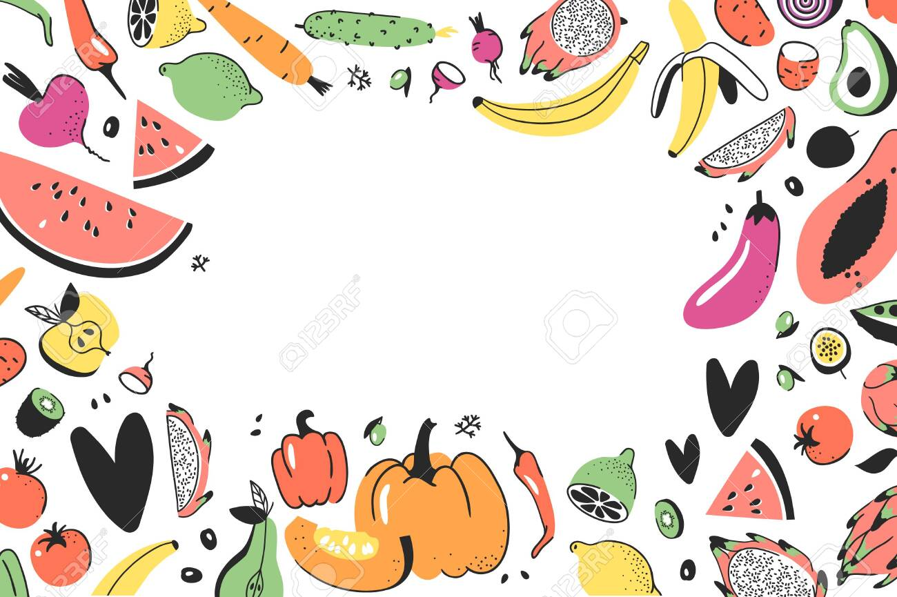 Frame With Hand Drawn Vegetables Fruits Vector Artistic Doodle