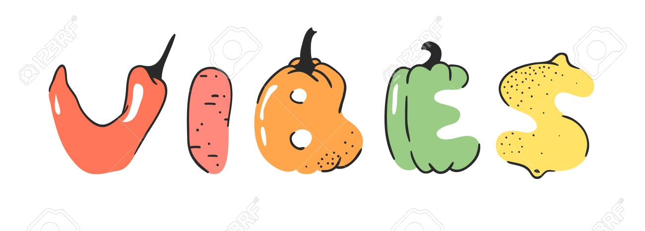 Cartoon Vector Illustration Vegetables And Fruits And Word Vibes