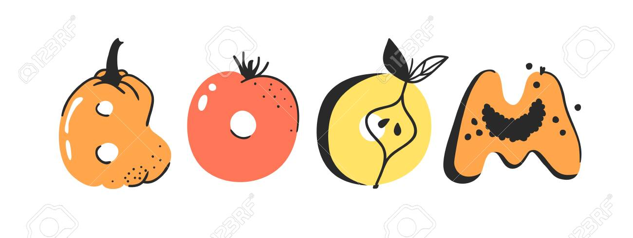 Cartoon Vector Illustration Vegetables And Fruits And Word Boom