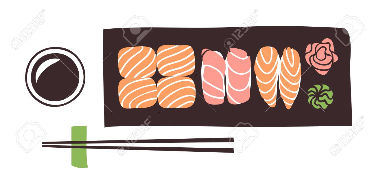 Hand drawn illustration sea food. Creative ink art work Asian dinner. Actual vector drawing sushi roll - 128487138