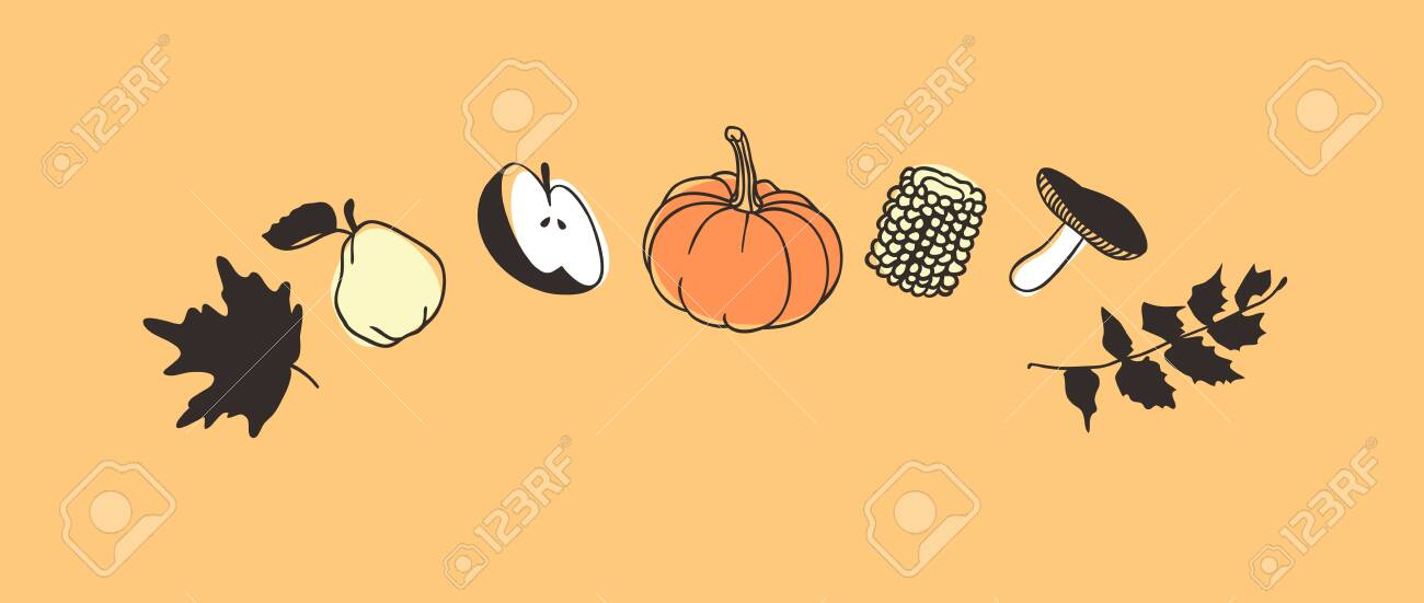 Hand drawn autumn holidays illustration. Creative ink art work. Actual vector drawing. Thanksgiving Day set of things - 132516954
