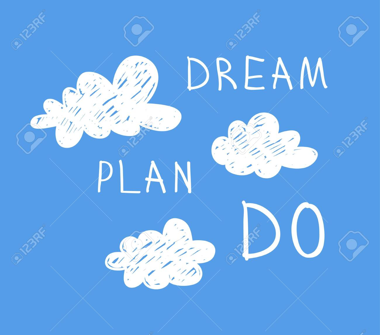 Funny Cloud In Cartoon Style On Blue Background And Quote Dream