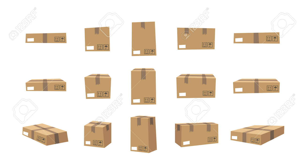 Carton Open and Closed Recycling Boxes Set. Cartoon Style Illustration Delivery Packaging. Flat Graphic Design Forwarding Clip Art. Vector Collection Mockup Isolated on White Background - 159461353