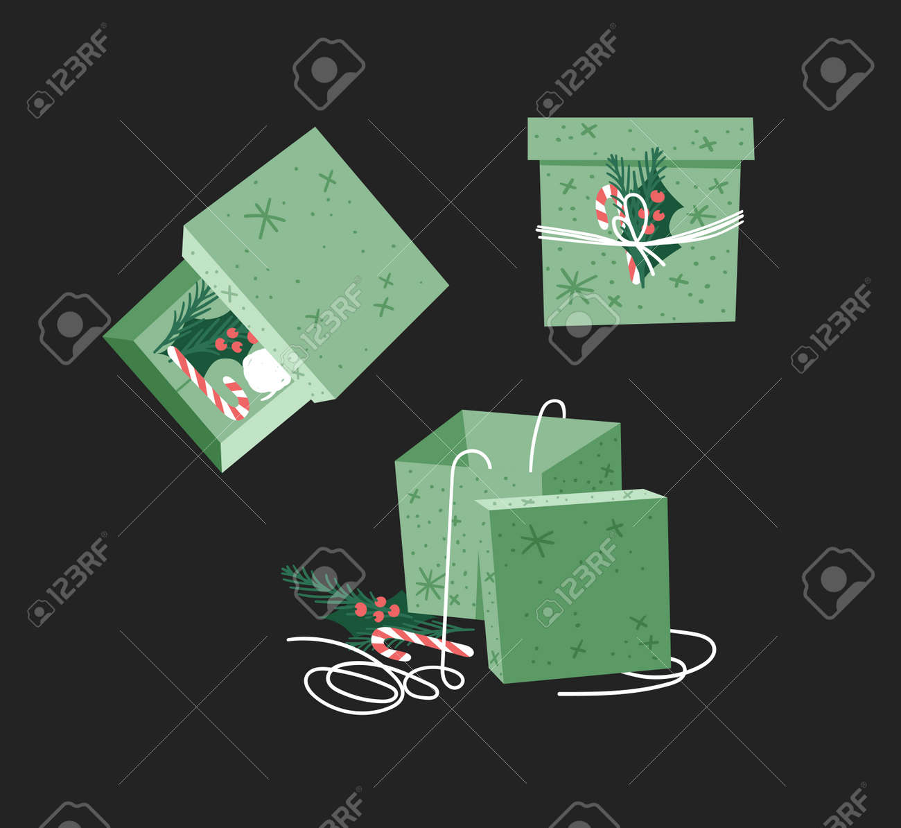 Cartoon Illustration Christmas Gift Box isolated. Creative Flat Style Art Work Collection. Actual vector drawing of Holiday Things Packing. Cozy Winter Decoration set - 160211245