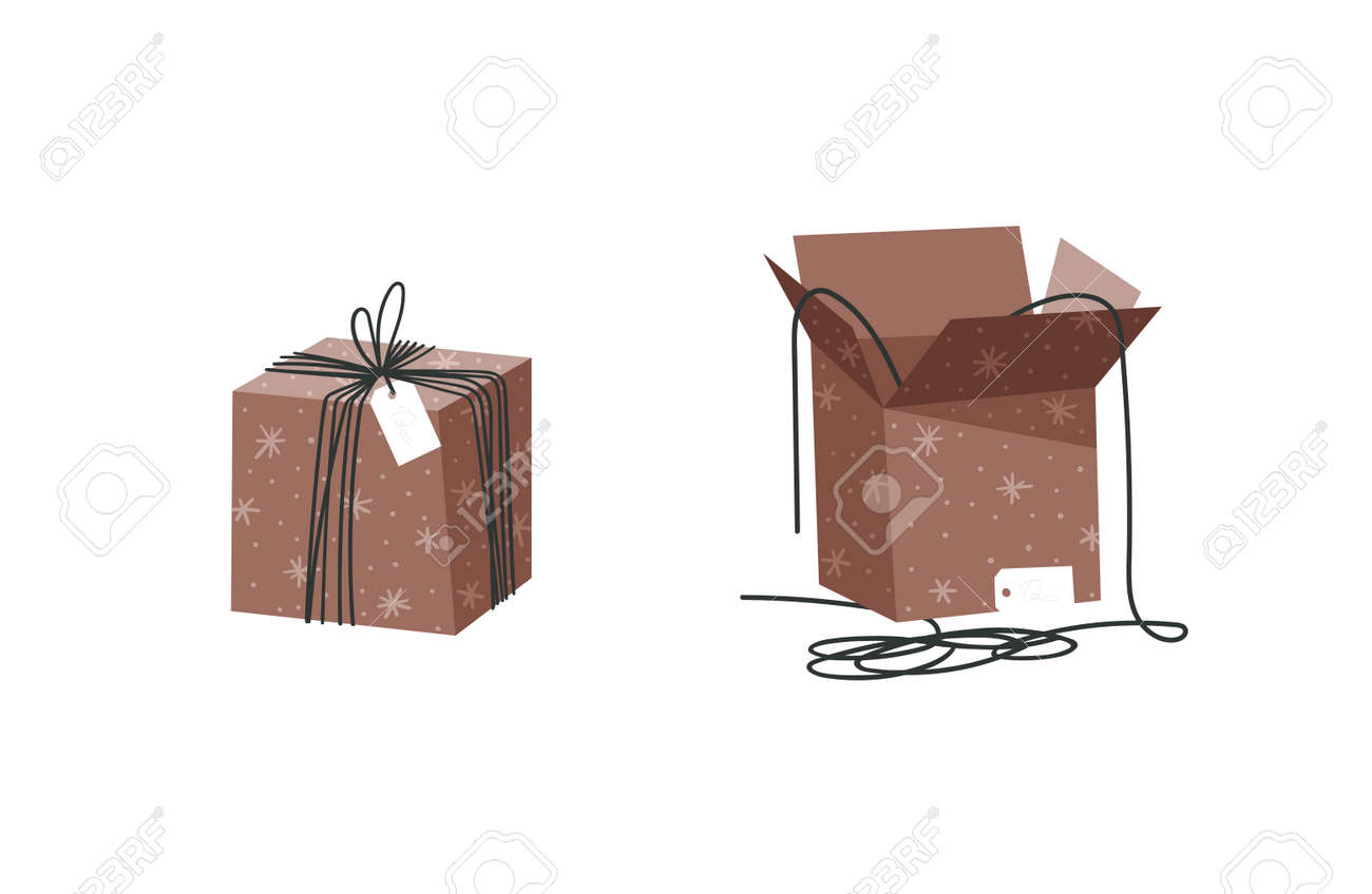 Cartoon Illustration Christmas Gift Box isolated. Creative Flat Style Art Work Collection. Actual vector drawing of Holiday Things Packing. Cozy Winter Decoration set - 161767002