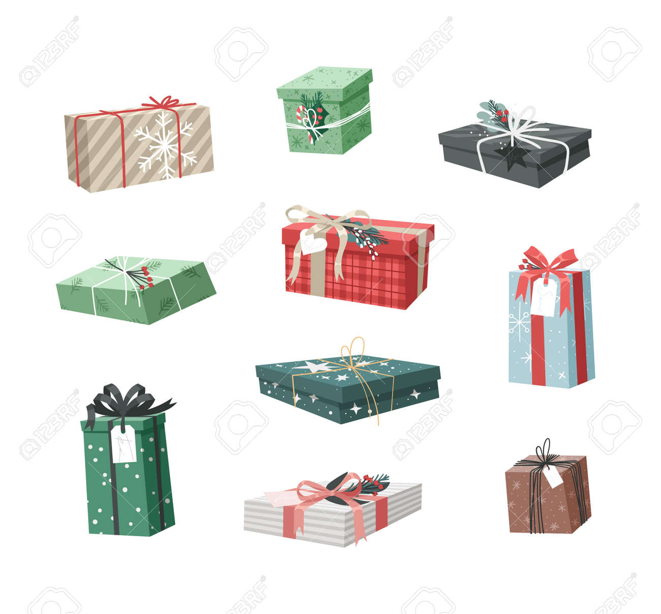 Cartoon Illustration Christmas Gift Box isolated. Creative Flat Style Art Work Collection. Actual vector drawing of Holiday Things Packing. Cozy Winter Decoration set - 161767017
