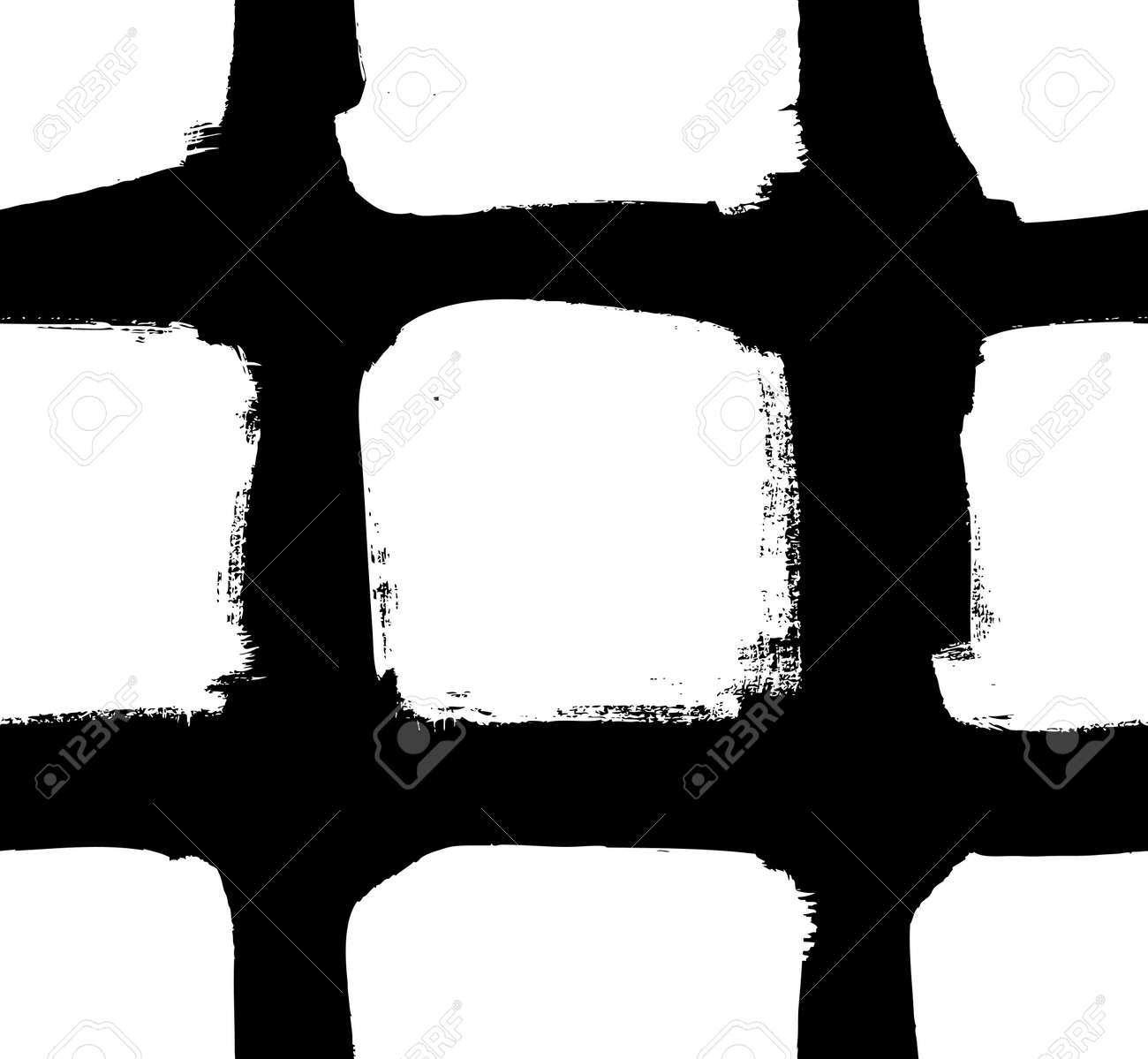 Paint drawing seamless pattern black and white squares. Hand drawn abstract illustration grunge elements. Vector abstract objects for design - 165155231