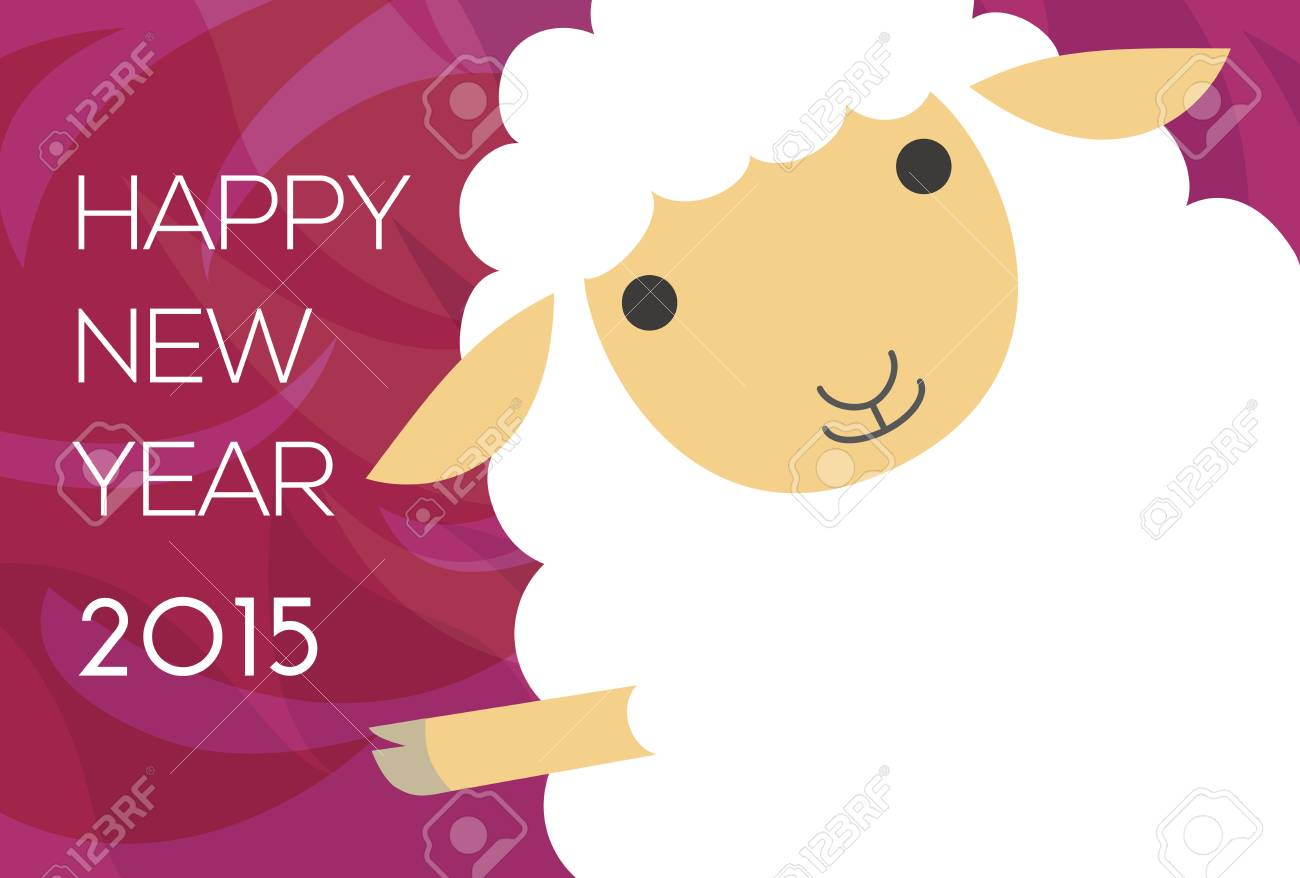 new year card with waving sheep stock vector 27453049
