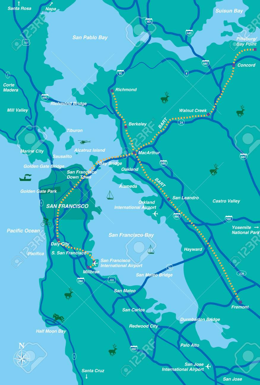 Image of: San Francisco Bay Area Map Royalty Free Cliparts Vectors And Stock Illustration Image 36044144