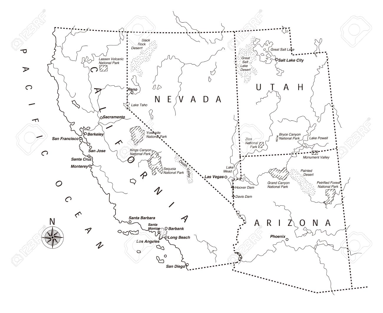 US West Coast Map Royalty Free Cliparts Vectors And Stock - Map of west coast of us