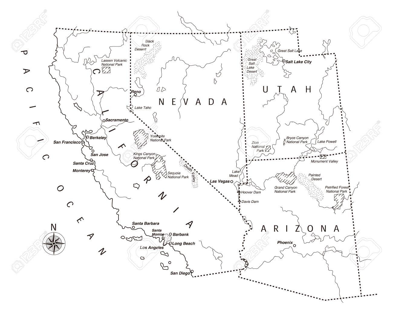 Us West Coast Map Stock Vector 36044145