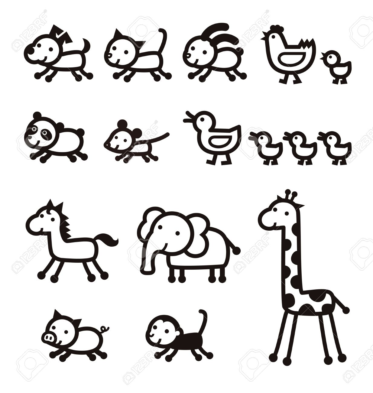 Pet Live Stock Zoo Animal Black And White Icons Royalty Free