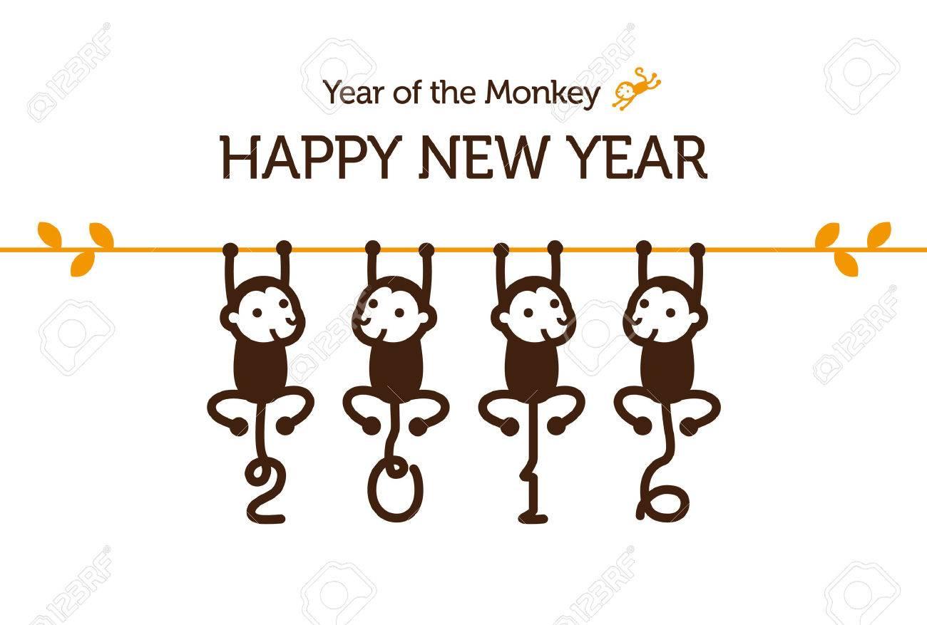 16 年の猿と年賀状のイラスト素材 ベクタ Image