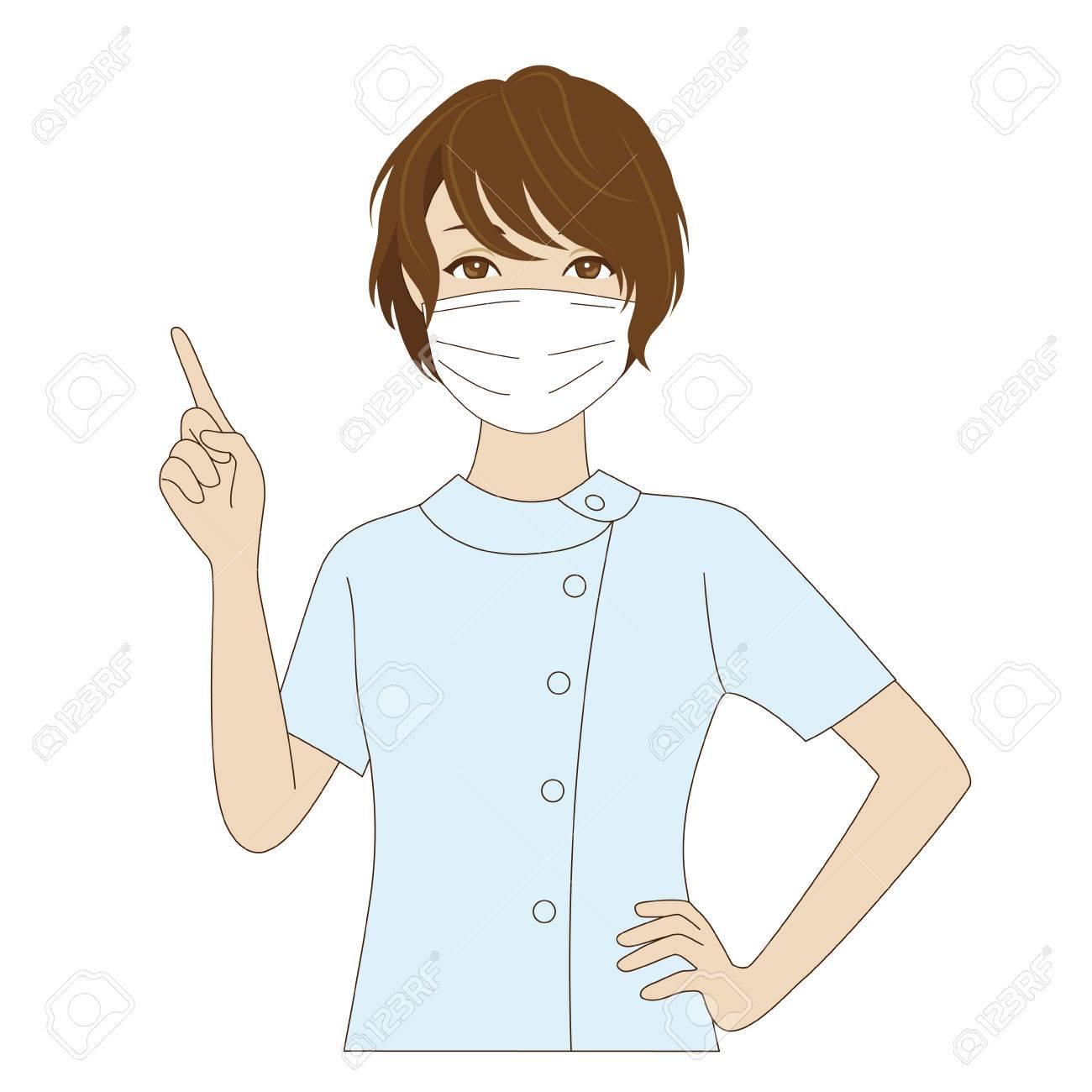 comment acheter assez bon marché grande remise pour Un sourire assistante dentaire féminin avec masque chirurgical en agitant  sa main