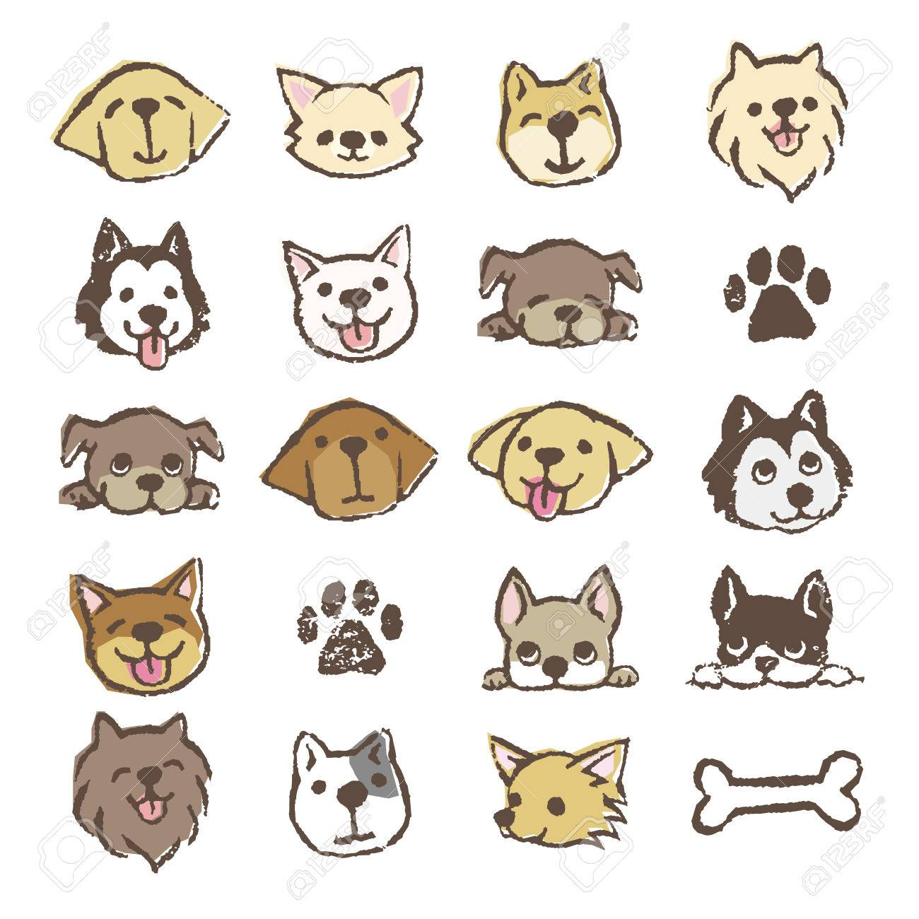 Different Types Of Dogs Icon Set, Color On White Background Royalty ...
