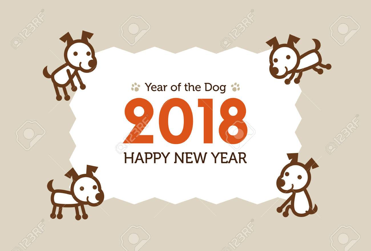 Happy New Year Card 2018, Year Of The Dog Illustration Royalty Free ...
