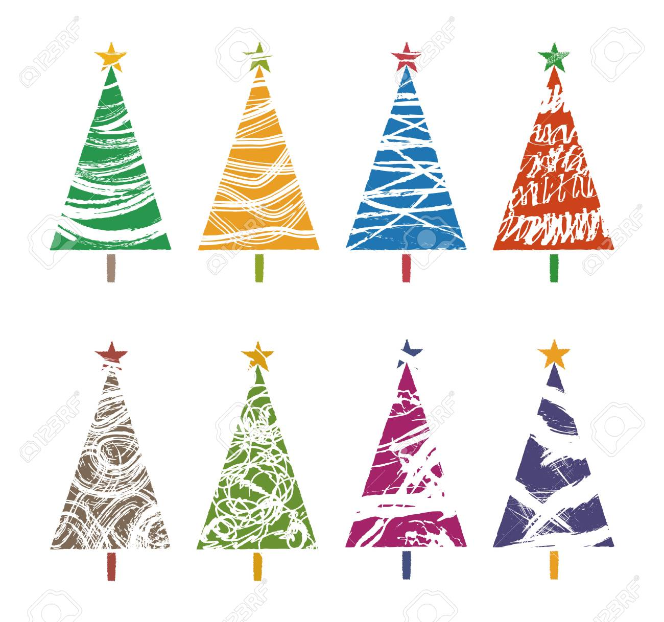 Different Kind Of Colorful Christmas Tree Collections, Graphic ...