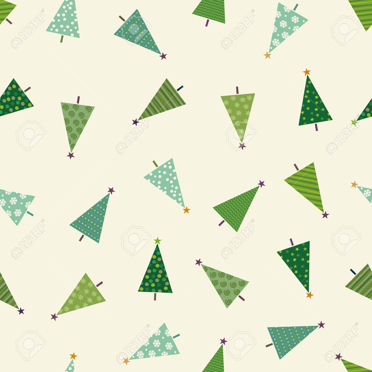 Colorful Christmas Pattern With Christmas Trees Royalty Free ...