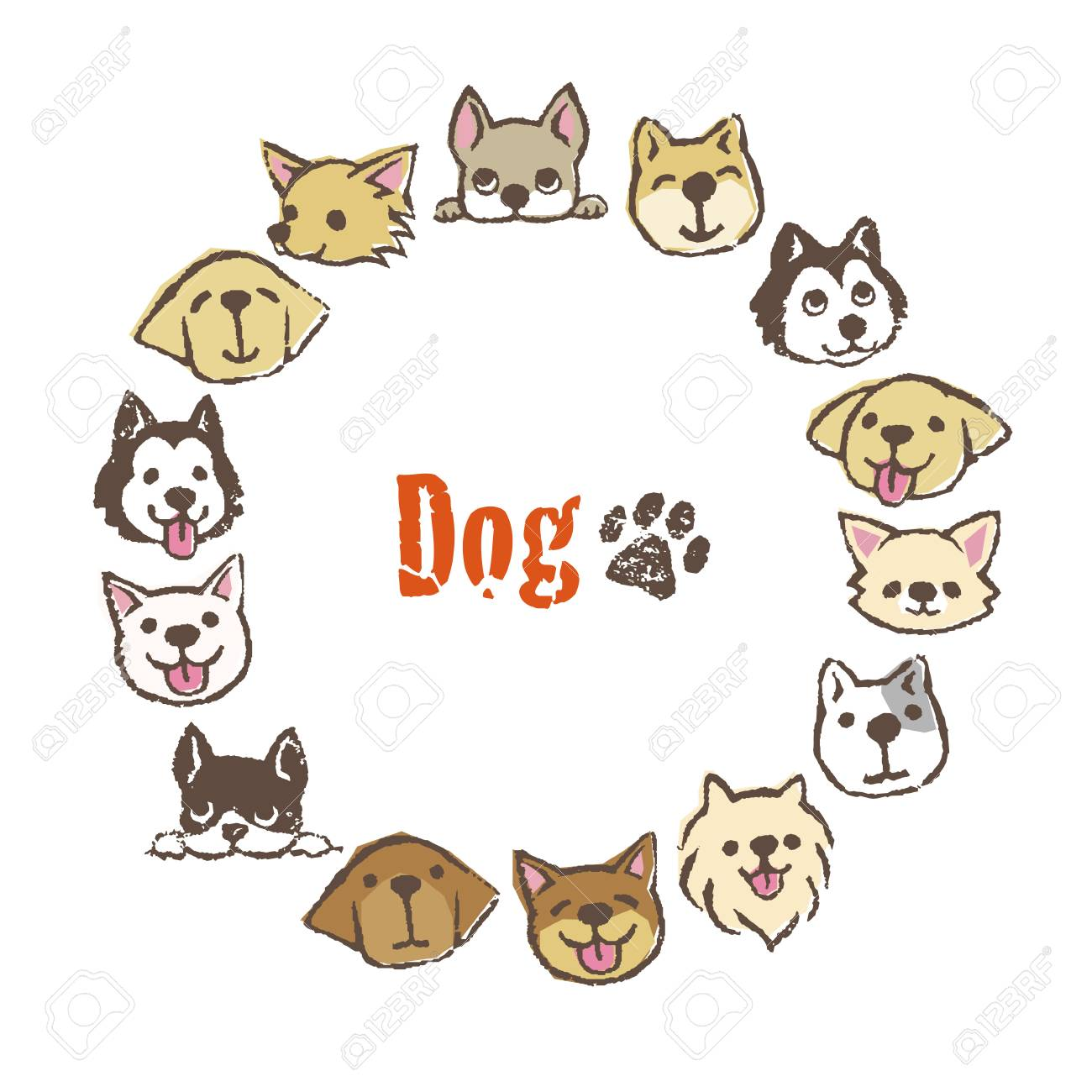 Circle Frame With Different Types Of Cute Dogs, Frame Design Royalty ...